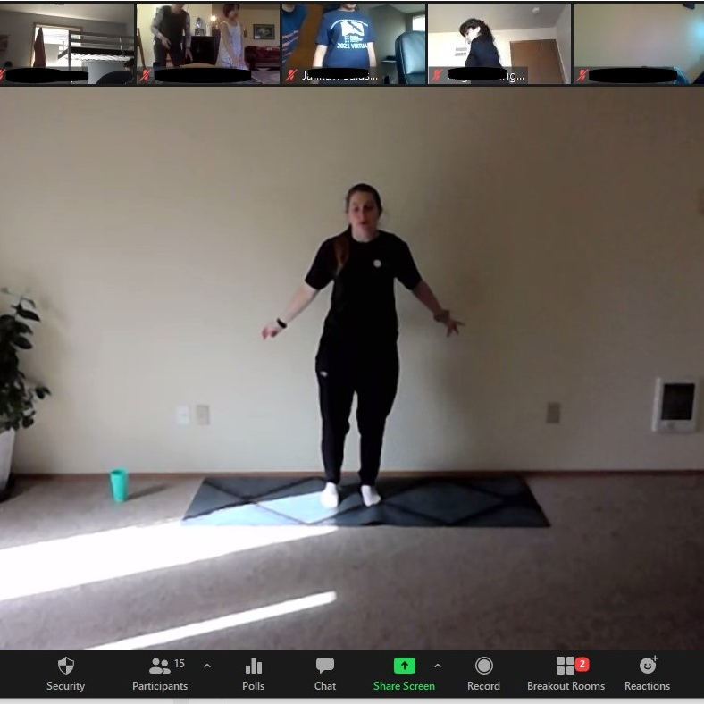 Screen capture of Braille Challenge student competitors taking part in a heart-pumping virtual session of audio-described Zumba, led by Northwest Association for Blind Athletes.