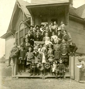 Steps of Presbyterian Church in Connell, WA, circa 1917